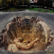 Удивительные оптические иллюзии в людных местах
