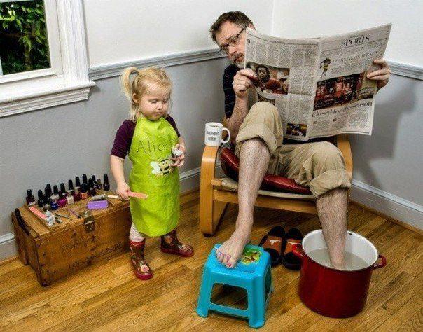 Папа и ребенок, один на один (46 фото)