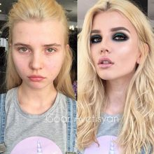 Девушки с макияжем и без него. (11 фото)