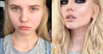 Девушки с макияжем и без него (16 фото)