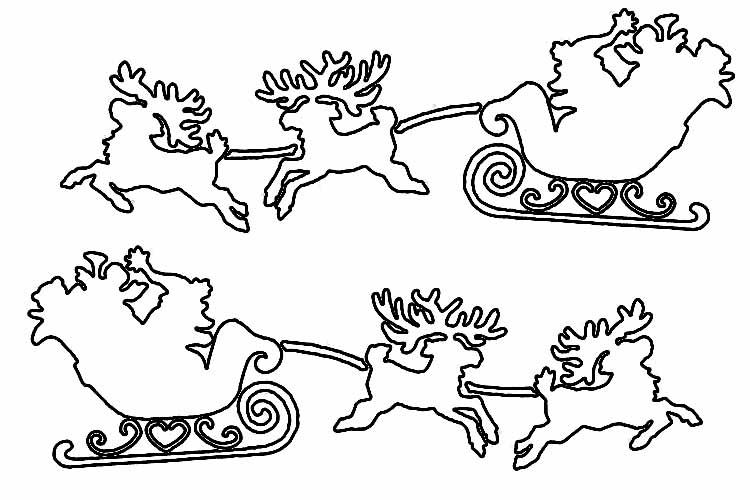 Трафарет новогодние сани с дедом морозом