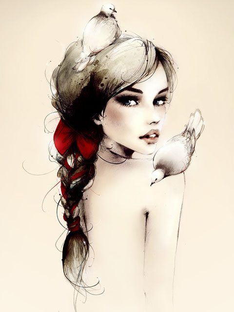 Красиво нарисованная голая девушка #4