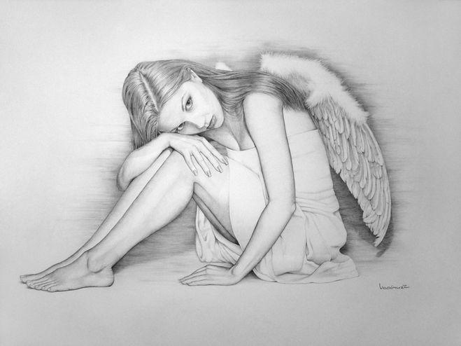 картинки карандашом нарисовать ангелов мою любовь