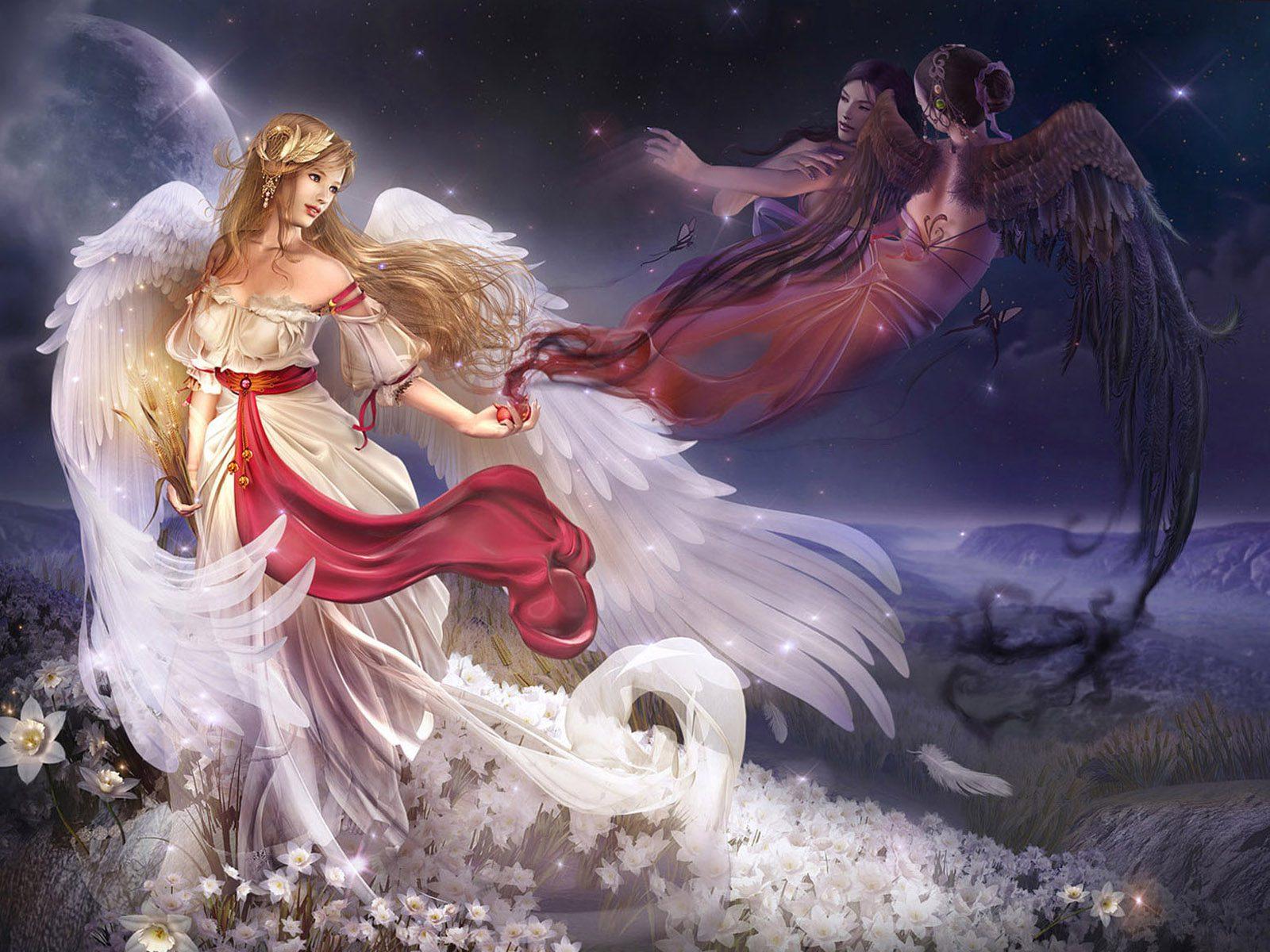 Картинки девушки с ангелочками