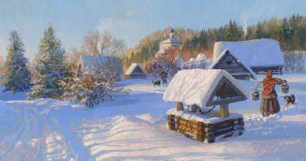 Красивые картинки зима в деревне (35 фото)