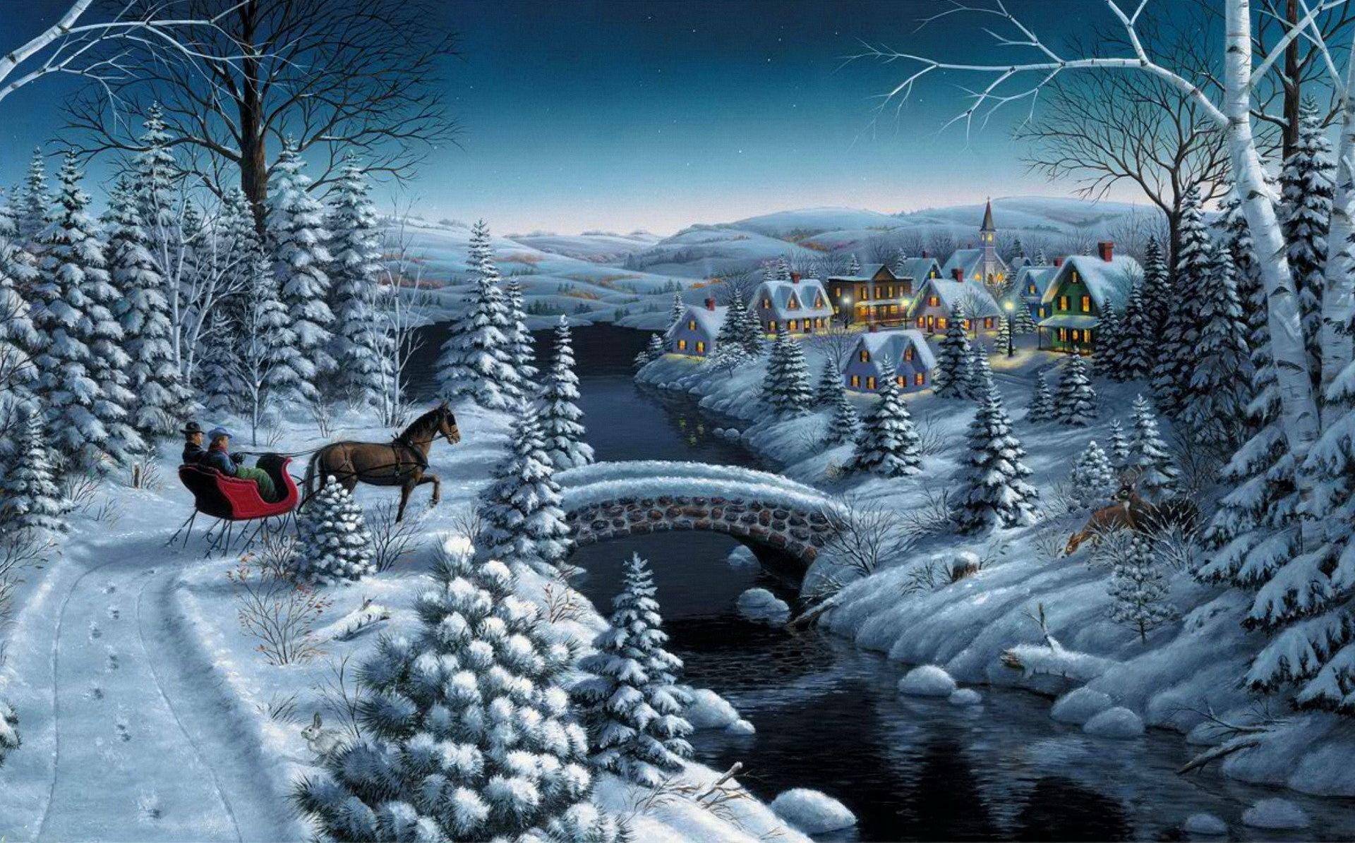 красивые картинки про новый год и зиму преданию, первые рождественские