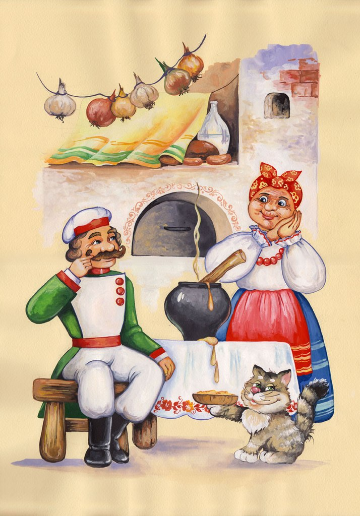 сегодняшней картинки к сказке каша из топора русская народная сказка чавенг все
