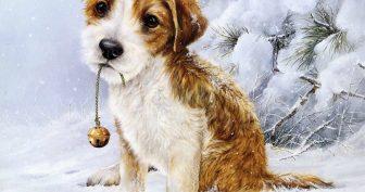 Картинки для декупажа собаки и новый год (35 фото)