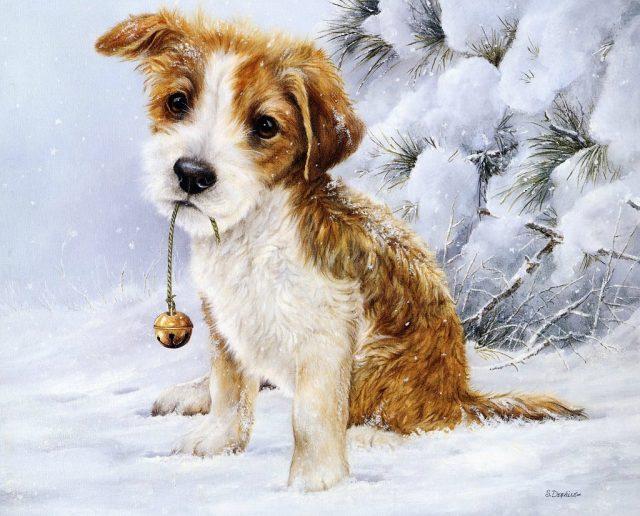 Картинки для декупажа собаки и новый год 35