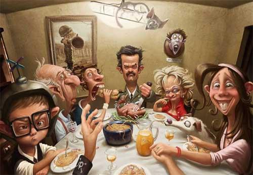 Карикатуры семья фотографии, картинки карикатуры семья ужин
