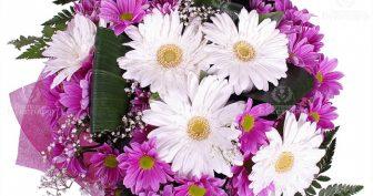Фото букеты к 1 сентября с герберами и хризантемами (31 фото)