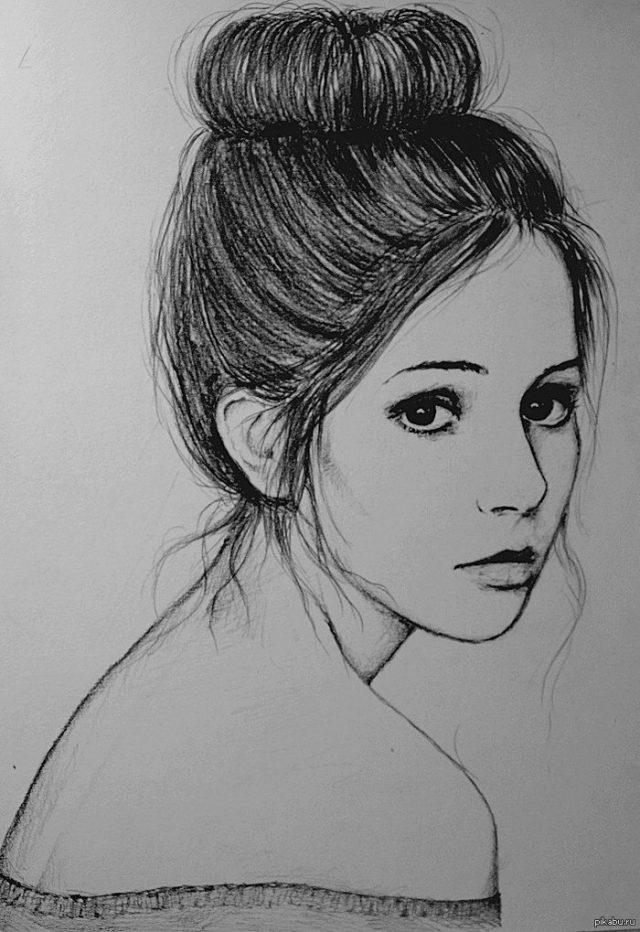 Девушка в линию рисунок
