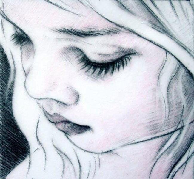 Картинка плачущей девушки для срисовки