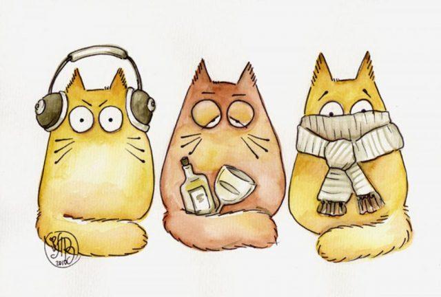 Нарисованные коты » Фото Картинки Видео