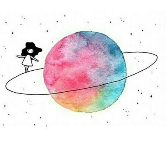Рисунок космоса и планет гуашью