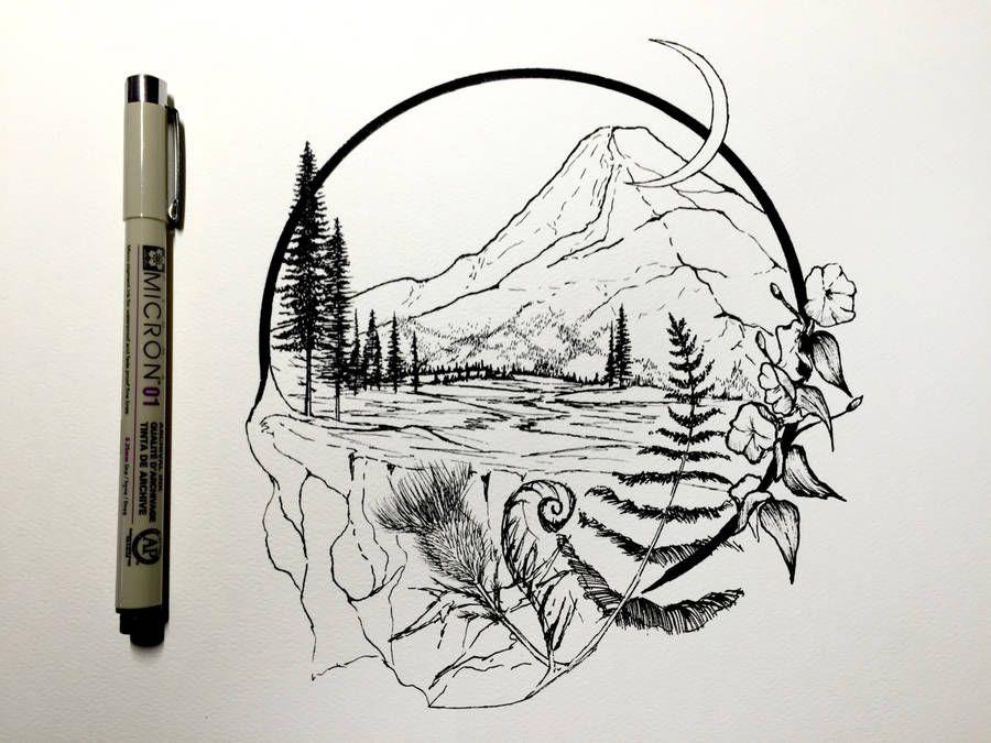 Картинки природы в черном цвете для срисовки