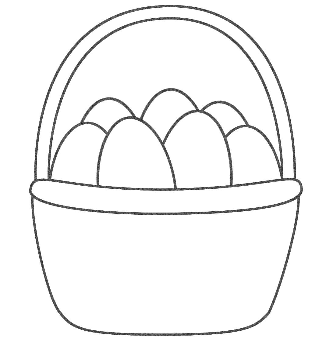 пасхальная корзинка картинка для раскрашивания