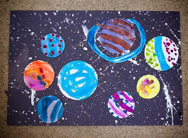 рисунки космоса и планет для детей 11 лет лёгкие