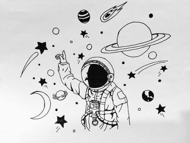 первую картинки про космос карандашом далеко каждый звездный