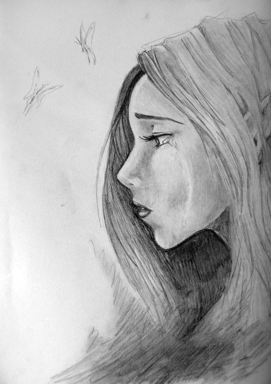 Картинки для срисовки плачущая девочка