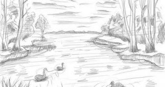 Красивые пейзажи карандашом для срисовки (33 фото)