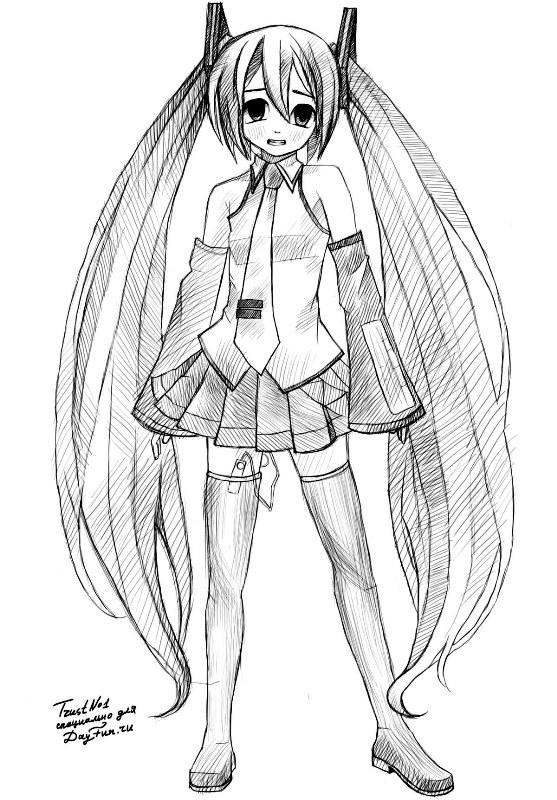 Красивые аниме девушки для срисовки в полный рост