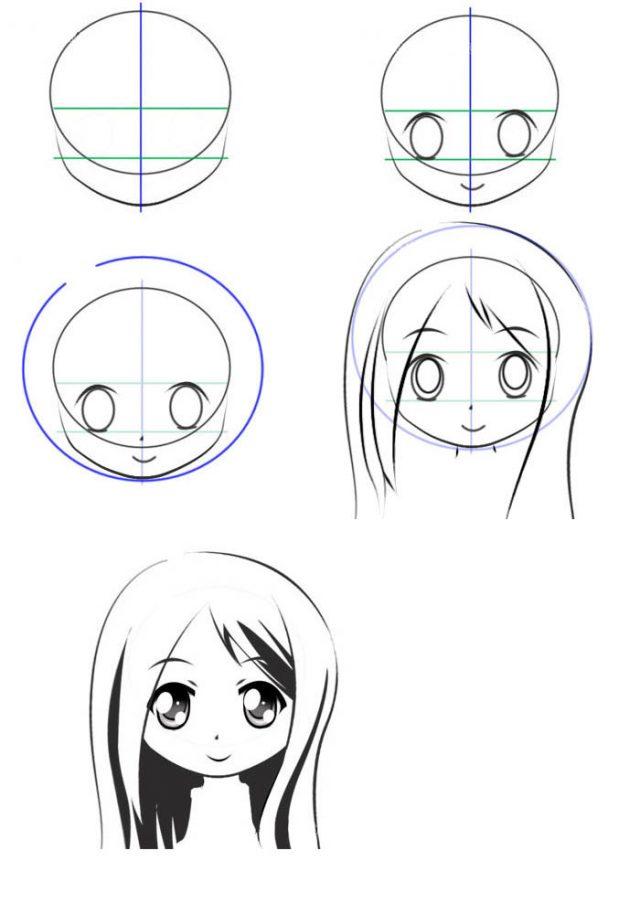 Простые рисунки лица аниме