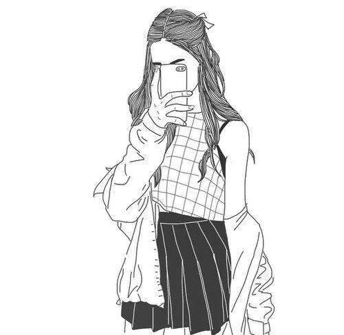 Картинки девушек для срисовки в стиле тумблер (16 фото)