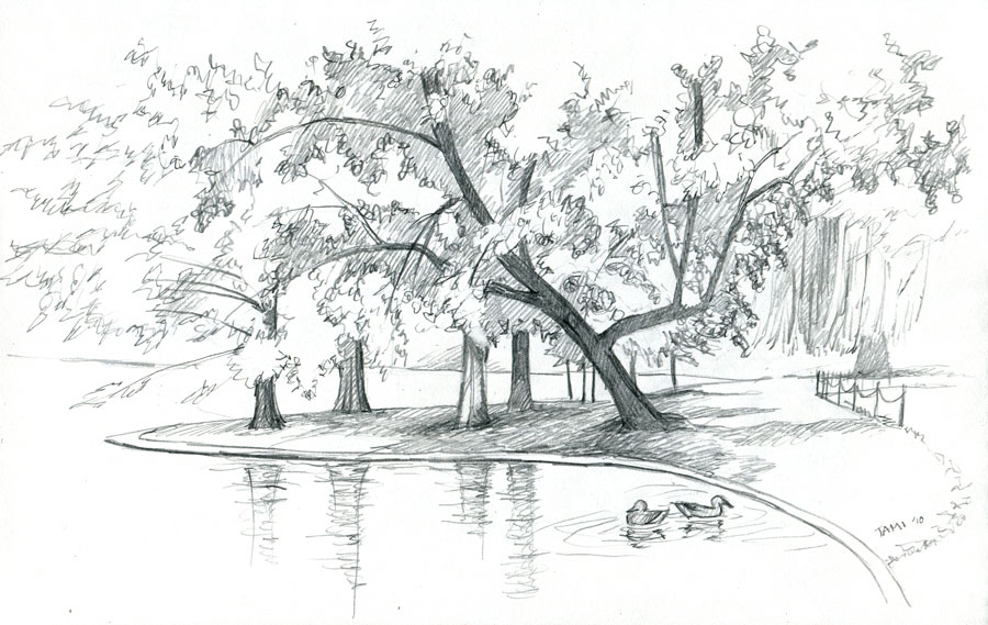 Нарисовать осенний пейзаж карандашом картинки