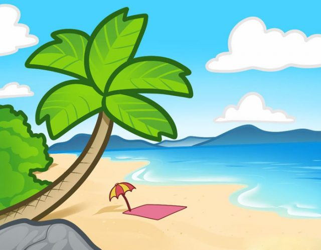 Картинки пляжа для срисовки