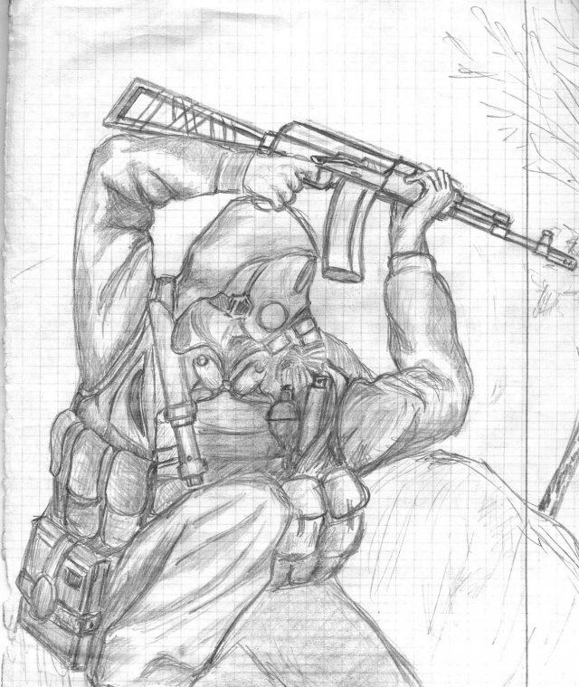 рисунки из игры сталкер карандашом поэтапно