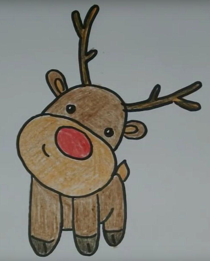 Картинки на новый год олень для срисовки