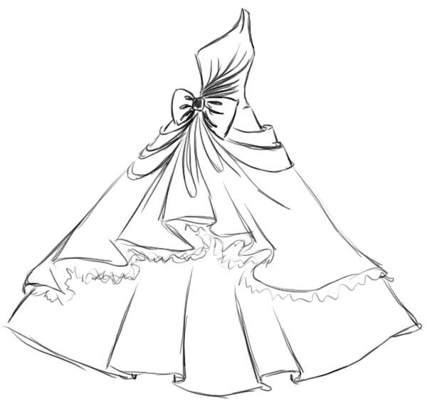 картинки красивые платья карандашом поэтапно одну сторону открывается