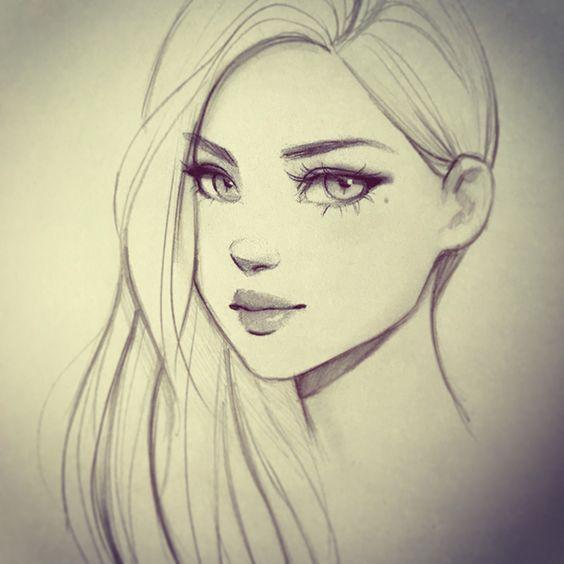 Классные крутые картинки для срисовки простым карандашом девушки