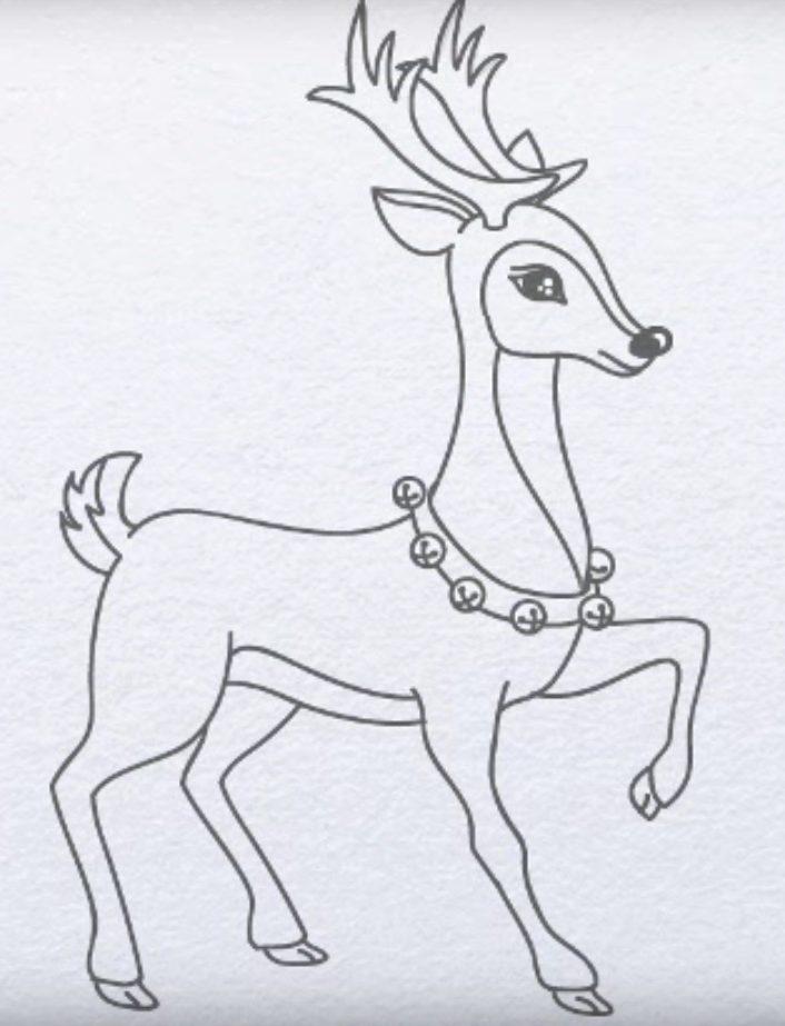 Для, картинки оленя для срисовки легкие