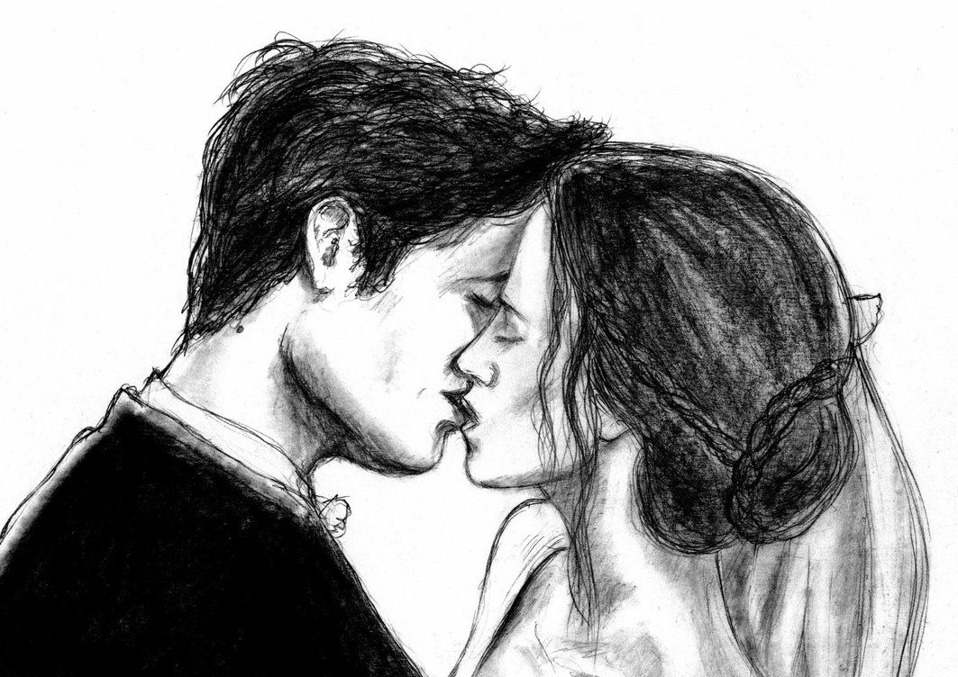 Рисованные картинки поцелуи