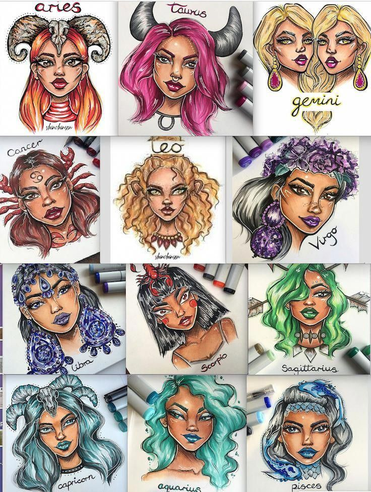 Картинки для срисовки знаки зодиака в виде девушек лев