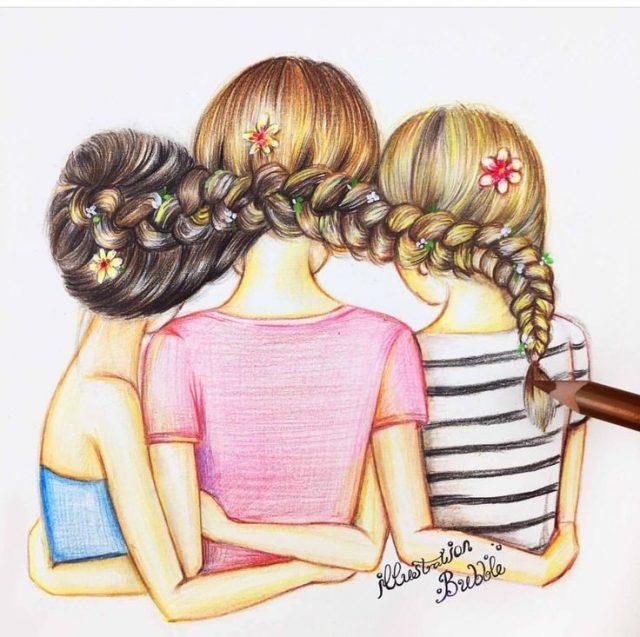 Рисунки для срисовки подружки 15 фото Прикольные