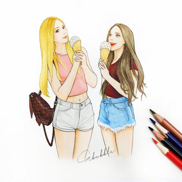 Картинки для срисовки подруги карандашом легко