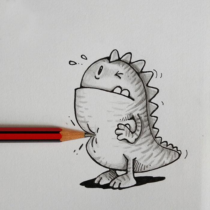 Как рисовать смешные картинки карандашом, рисунки курсанты нло