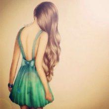 Рисунки для срисовки девушки со спины (19 фото)