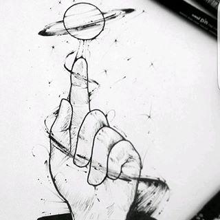 рисунки космоса и планет карандашом необычно
