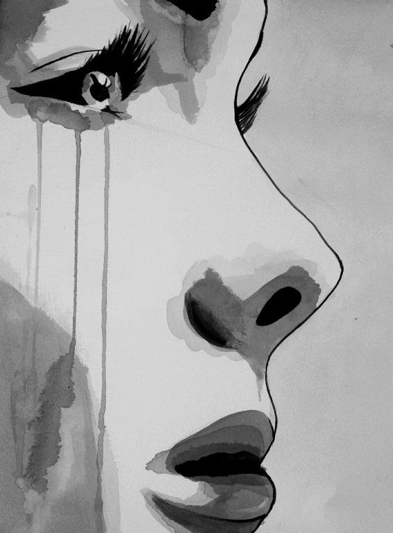 Картинки про грусть для срисовки