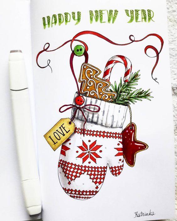 Новогодние открытки набросок, детские просто так