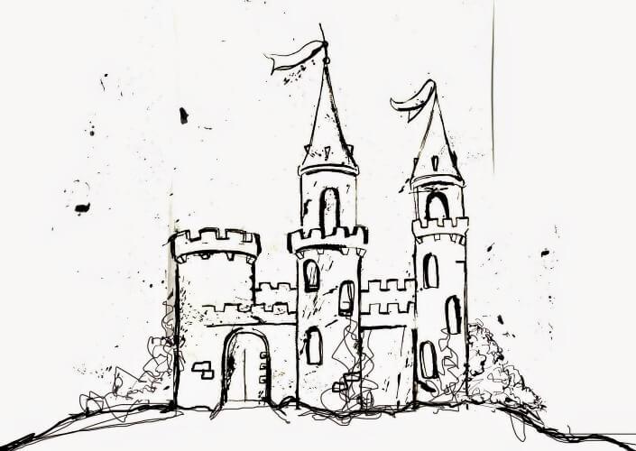 Смешной рисунок замка, вести себя