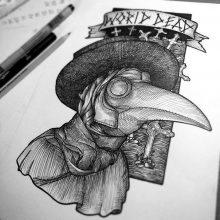 Рисунок для срисовки Чумной доктор (21 фото)