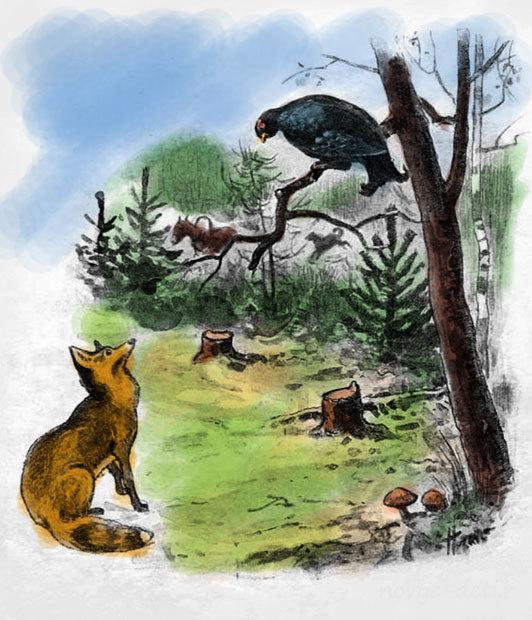 Картинки лисы и тетерева
