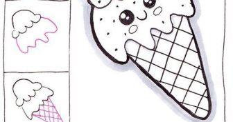 Рисунок карандашом для срисовки мороженое (30 фото)