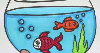 Рисунки рыбки карандашом для детей (35 фото)