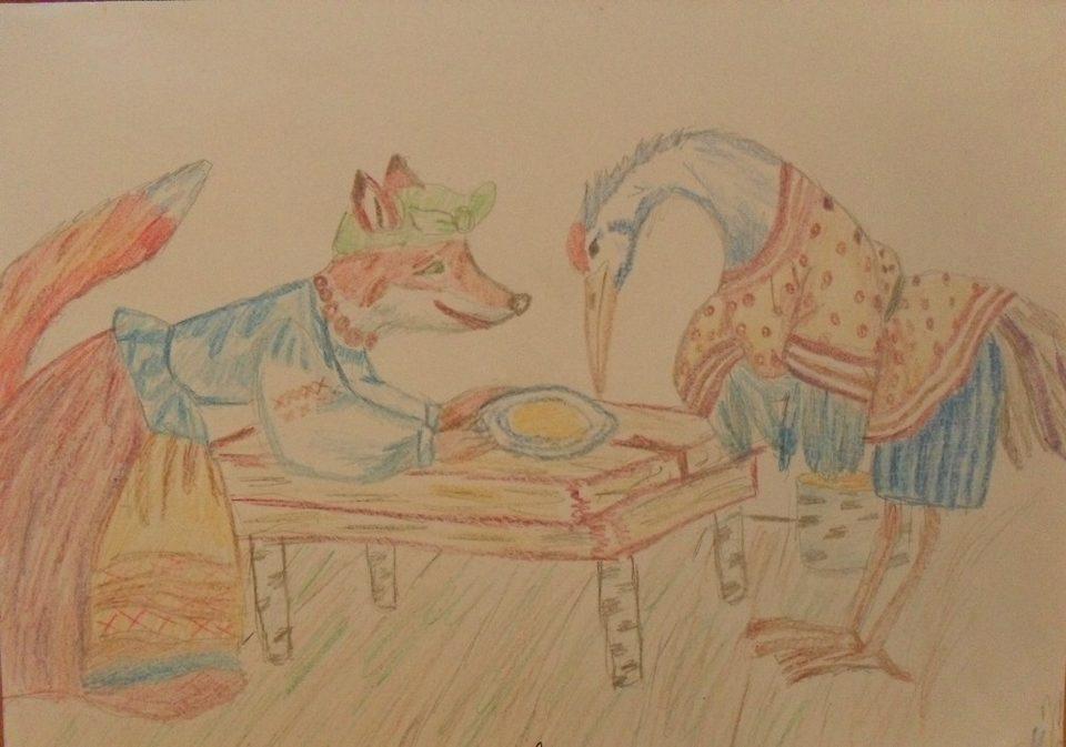 стала знаменитой, картинки или рисунки сказки лиса и журавль зимою, времена